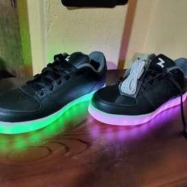 Zapatos led color negro 7 tonos de luz