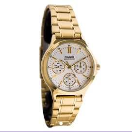 Reloj Casio Ltp300g Calendario multifuncional dorado 100% original