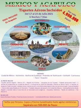 Mexico y Acapulco  6 Noches 7 ️Días Salida en Grupo el 17 de Julio 2021