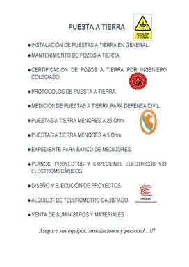 PUESTA A TIERRA, BANCO DE MEDIDORES, TELUROMETRO, GPS, MEGOHMETRO,REVELADOR, DISTANCIOMETRO, SISTEMAS DE UTILIZACIÓN.