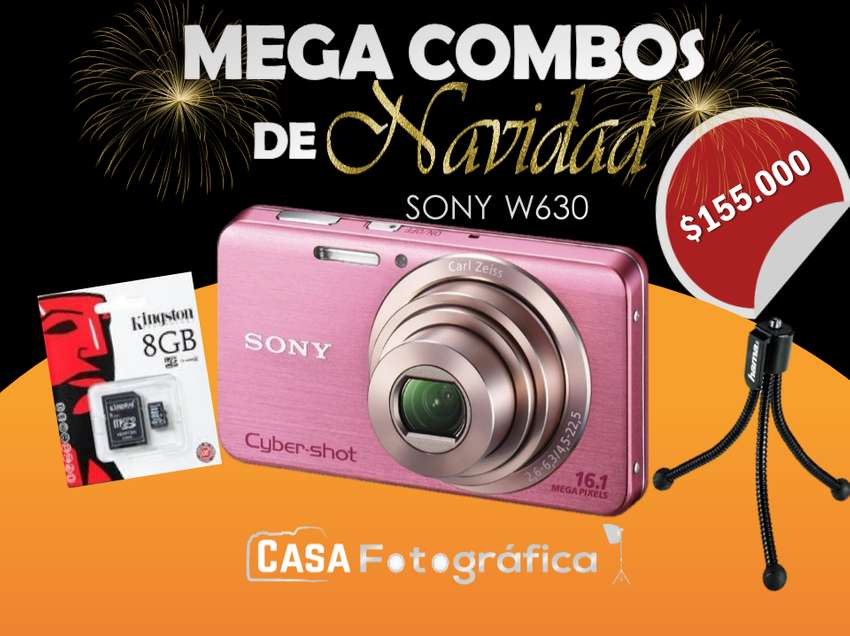 Camara Digital usada Sony Dmcw630 Video Hd 16mp 4x Zoom Memoria 8G Mini TRIPODE 0