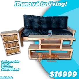 Sillón futón + mesa tv + canastero