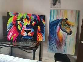 Óleos sobre lienzo por separado o ambos