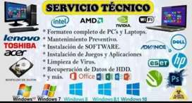 Formateo de Windows cpu y laptops