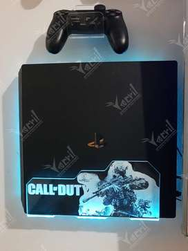 Soporte base repisa consola ps4 diseño call of duty más iluminacion led bluetooth