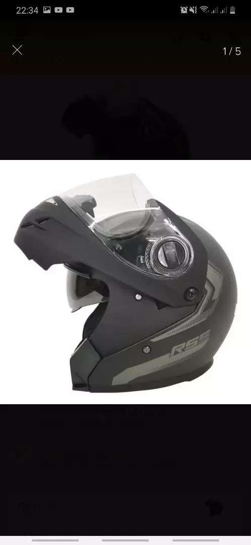 Casco Moto Hawk Rs5 Vector Rebatible Negro Mate Doble Visor 0