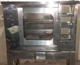 Horno asador para pollos en acero inoxidable, con vitrina calentadora