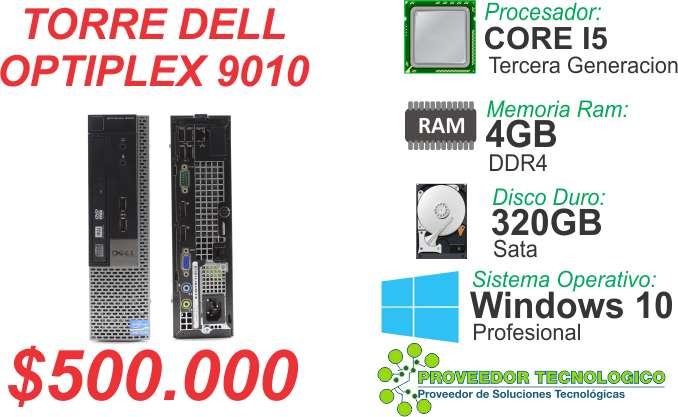 TORRE DELL OPTIPLEX 9010 COREI5  3RA GENERACION RAM 4GB DDR3 DISCO 320GB 0