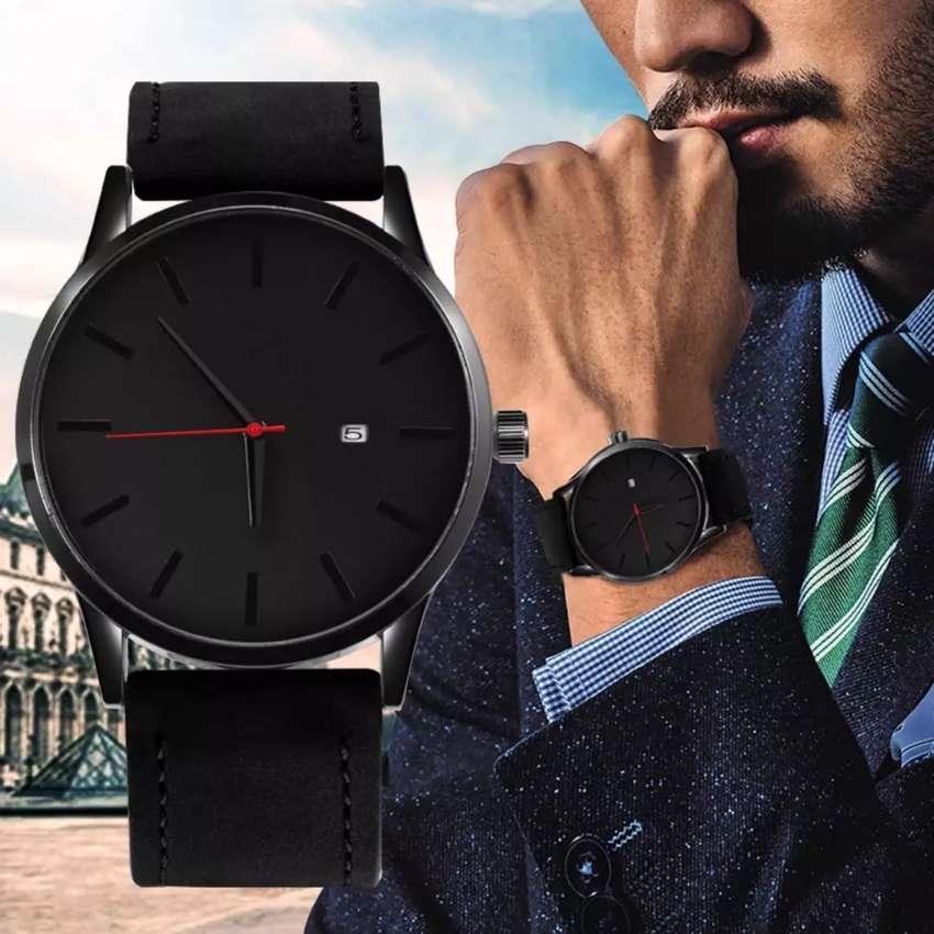 Reloj fechero análogo hombre caballero cuero ilusión Of Time