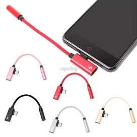 Adaptador USB tipo C a 3.5mm y carga simultánea.