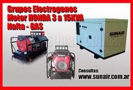 Grupos electrogenos honda, generadores honda de 3 a 15KVA a gas  nafta