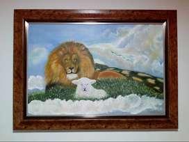 Cuadro al oleo (el león junto al cordero)