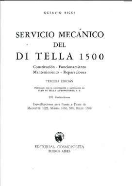 SIAM DITELLA 1500 MANUAL DE TALLER , DESARMADO, ARMADO Y PARTES
