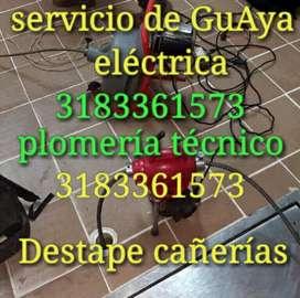 Plomero - plomería Bucaramanga. Destapes guaya eléctrica.