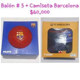 BALÓN # 5 + CAMISETA BARCELONA.