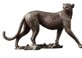 Escultura Leopardo Africano Artesanal Estatua Para Decorar