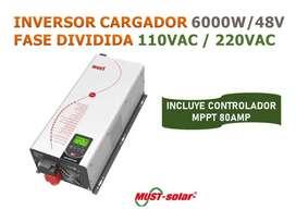 INVERSOR CARGADOR 6KW FASE DIVIDIDA 110/220VAC