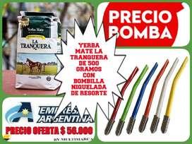 """OFERTA! YERBA MATE """" LA TRANQUERA"""" DE 500 GRAMOS con BOMBILLA NIQUELADA DE RESORTE !"""