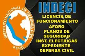 Planos de defensa civil Indeci, licencia de funcionamiento, arquitectura y seguridad