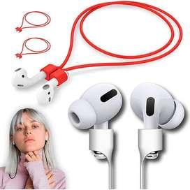 Cable Siliconado Magnetico Para Audifonos Bluetooth AirPods Rojo