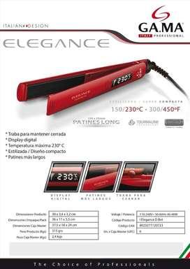 Planchita de pelo GA.MA Italy Elegance Digital roja con placas de turmalina 150V/300V