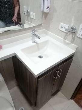 Lavamanos en marmolina y policuarzo
