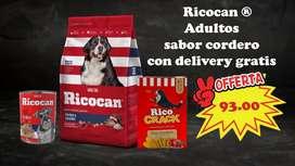 Súper combo Ricocan Adultos RAZA MEDIANA- GRANDE sabor cordero DELIVERY GRATIS