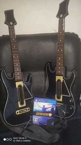 Dos guitar hero con el juego físico original para ps4