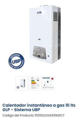 Calentador instantáneo a gas 10 lts GLP - Sole