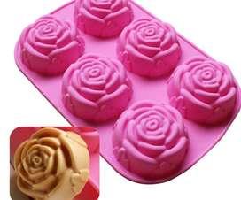 Molde de silicona con forma de rosa para hornear, moldes de pudín para pastel de flores, utensilios para hornear,