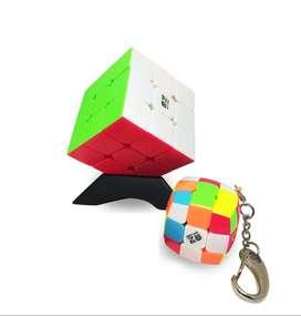 Cubo Rubik 3x3 Qiyi Warrior W Llavero Mini Base