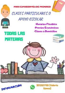 Clases particulares y tutorías a estudiantes de primaria