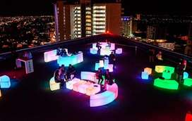 Alquiler Low Cost Livings Luminoso Led Puffs Gazebos Eventos--