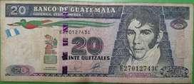 Billete de 20 quetzales de Guatemala para coleccion