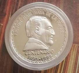 MONEDA PLATA PERU VICTOR RAÚL HAYA DE LA TORRE AÑO 1995 CALIDAD PROOF ESCASA