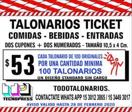 Ticket Talonarios 4x11Para Bebidas, Comidas, Entradas, Sorteo, Guardarropa, etc. con dos talones un troquelado de fácil