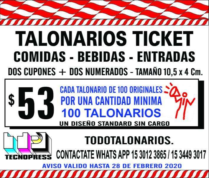 Ticket Talonarios 4x11Para Bebidas, Comidas, Entradas, Sorteo, Guardarropa, etc. con dos talones un troquelado de fácil 0