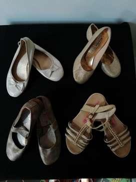 Zapatos niña talla 33, lote cuatro pares por 45.000