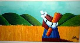 Pintura sobre lienzo en acrilico profesional en formato horizontal