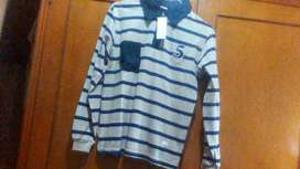 Remera Polo algodon Nueva con etiqueta original talle 16 azul y beige