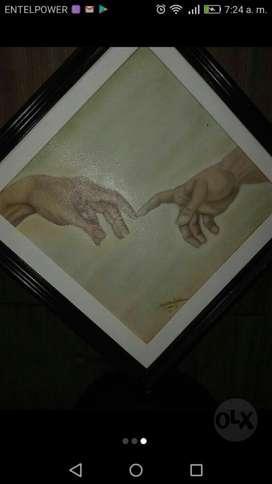 Pintura Al Óleo Tema Adán Y Dios