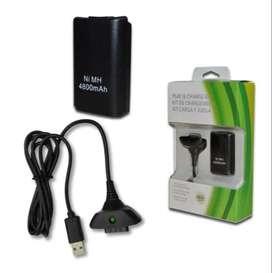 Kit Carga Y Juega Xbox 360 + 4800 Ni-mh Cargador Consola