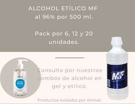 Alcohol etílico MF al 96% por 500 ml. Pack por 20 unidades.