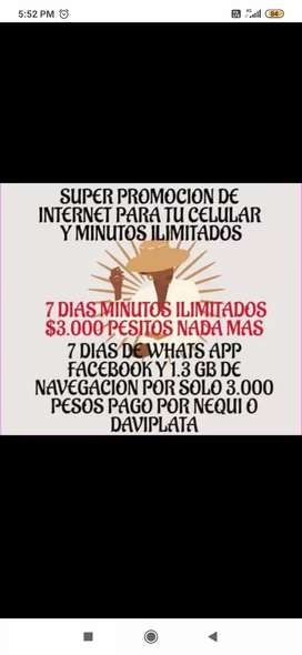 7 días minutos ilimitados what's app facebook x solo 3000