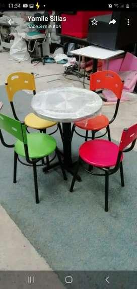 Juego de mesa y sillas para restaurante