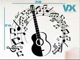 Vinilo de corte Notas Musicales y Guitarra25000