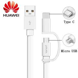 CABLE HUAWEI 2 EN 1 MICRO USB/TIPO C 1.5M 2.0A BLANCO