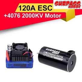 Combo Brushless Motor y ESC para carros RC 1/8. Motor 4076 2000KV. ESC 120A 2-6S LiPo Electronic Speed Controller.