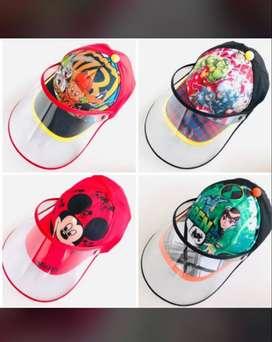 Gorra para niños con careta protectora facial