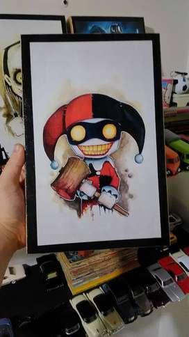 Joker y Harley Quinn - Retablos decorativos - de 30 x 20 cm Madera Estampada